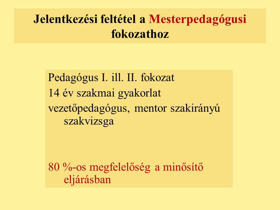 Jelentkezési feltétel a Mesterpedagógusi fokozathoz Pedagógus I. ill. II. fokozat 14 év szakmai gyakorlat vezetőpedagógus, mentor szakirányú szakvizsg