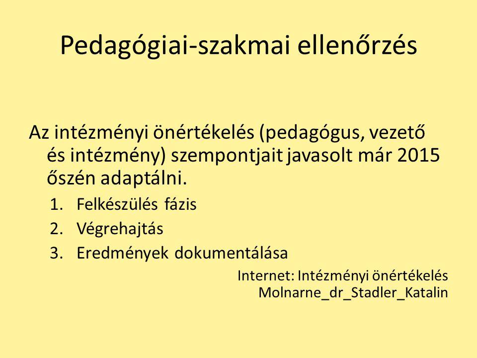 Pedagógiai-szakmai ellenőrzés Az intézményi önértékelés (pedagógus, vezető és intézmény) szempontjait javasolt már 2015 őszén adaptálni. 1.Felkészülés