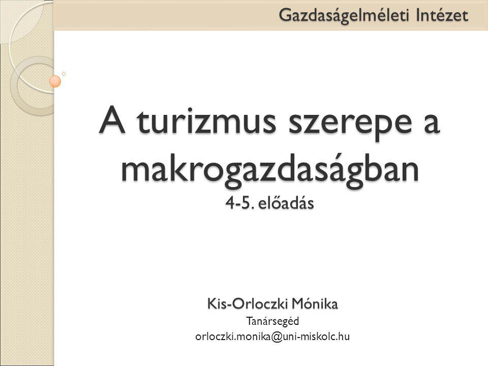 A turizmus szerepe a makrogazdaságban 4-5. előadás Kis-Orloczki Mónika Tanársegéd orloczki.monika@uni-miskolc.hu Gazdaságelméleti Intézet