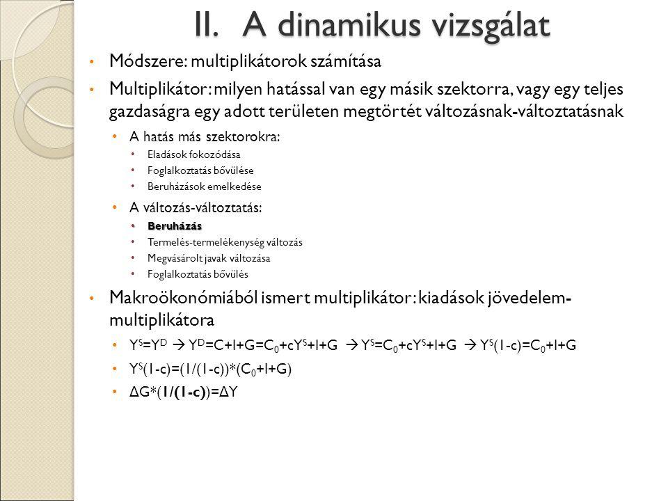II. A dinamikus vizsgálat Módszere: multiplikátorok számítása Multiplikátor: milyen hatással van egy másik szektorra, vagy egy teljes gazdaságra egy a