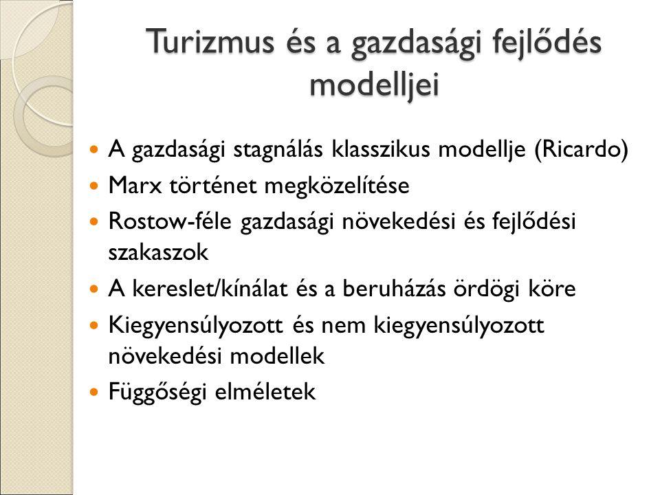 Turizmus és a gazdasági fejlődés modelljei A gazdasági stagnálás klasszikus modellje (Ricardo) Marx történet megközelítése Rostow-féle gazdasági növekedési és fejlődési szakaszok A kereslet/kínálat és a beruházás ördögi köre Kiegyensúlyozott és nem kiegyensúlyozott növekedési modellek Függőségi elméletek