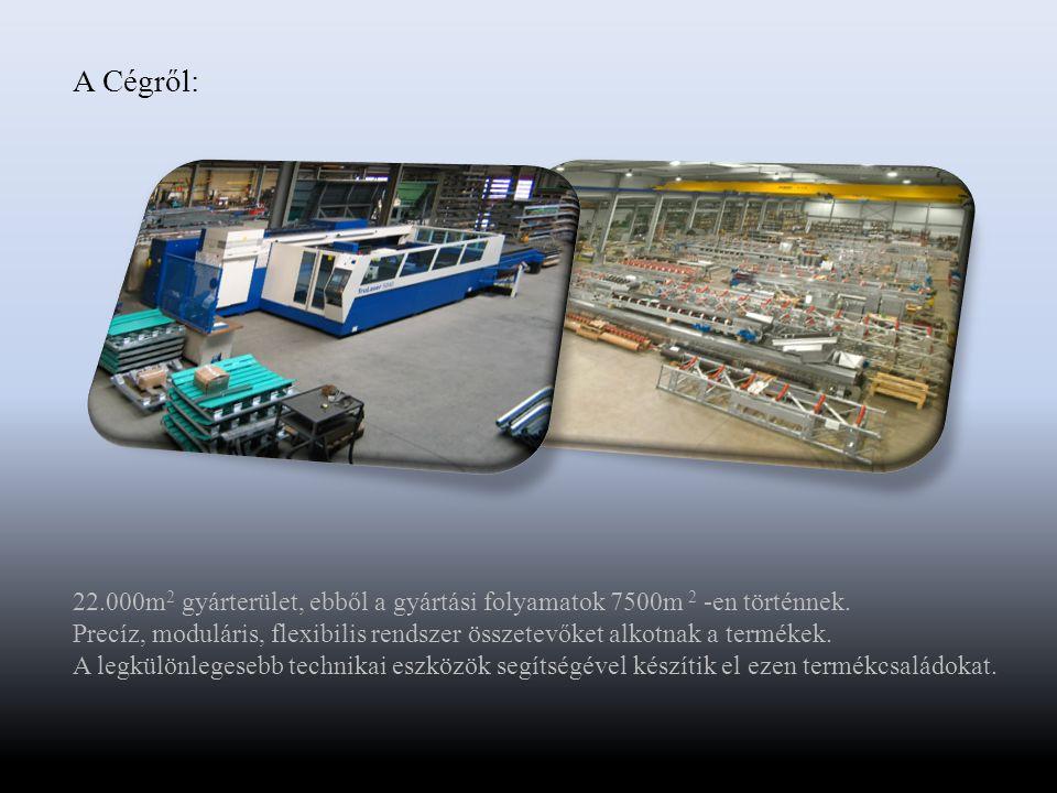 A Cégről: 22.000m 2 gyárterület, ebből a gyártási folyamatok 7500m 2 -en történnek.