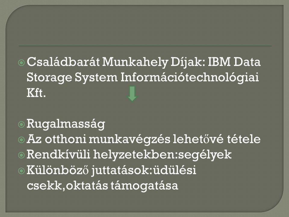  Családbarát Munkahely Díjak: IBM Data Storage System Információtechnológiai Kft.  Rugalmasság  Az otthoni munkavégzés lehet ő vé tétele  Rendkívü