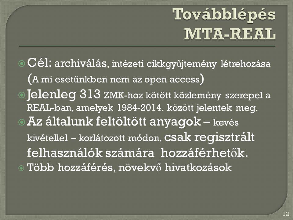  Cél: archiválás, intézeti cikkgy ű jtemény létrehozása ( A mi esetünkben nem az open access )  Jelenleg 313 ZMK-hoz kötött közlemény szerepel a REAL-ban, amelyek 1984-2014.