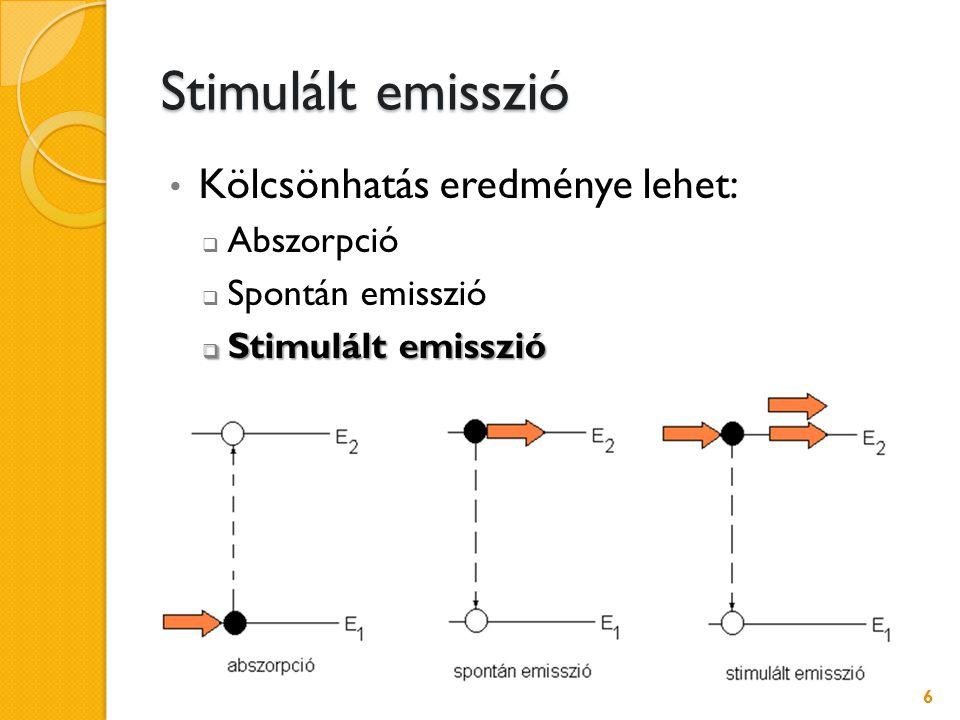 A működés feltétele Stimulált emisszióval keletkező fotonok száma nagyobb legyen, mint az abszorbeálódott fotonok száma Inverz populáció: Inverz populáció: a magasabb energiaszinteken több elektron van, mint az alacsonyabbakon Pumpálás  Fény energia  Elektromos energia  Kémiai energia 7