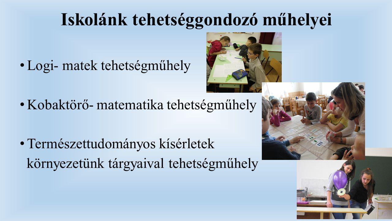 Iskolánk tehetséggondozó műhelyei Logi- matek tehetségműhely Kobaktörő- matematika tehetségműhely Természettudományos kísérletek környezetünk tárgyaiv