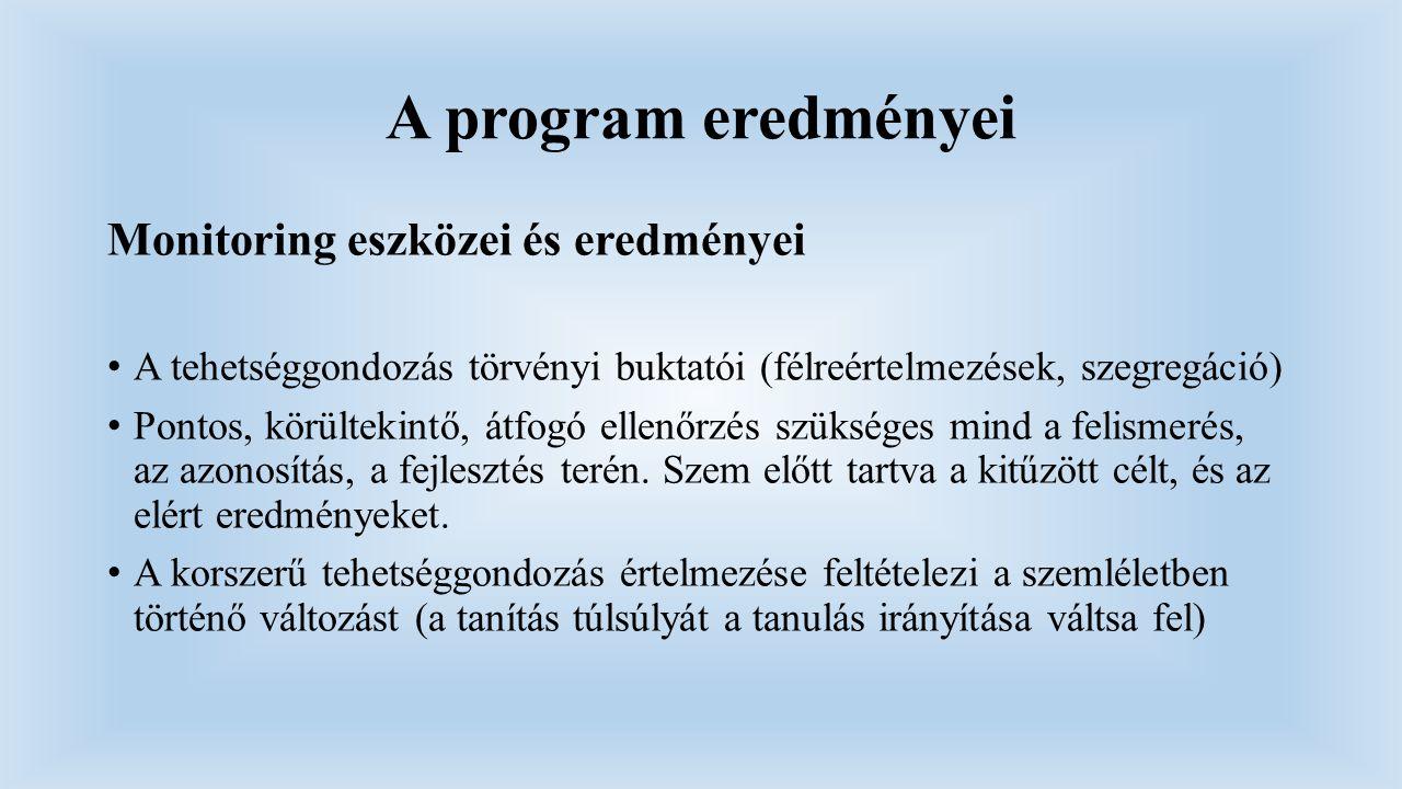 A program eredményei Monitoring eszközei és eredményei A tehetséggondozás törvényi buktatói (félreértelmezések, szegregáció) Pontos, körültekintő, átf