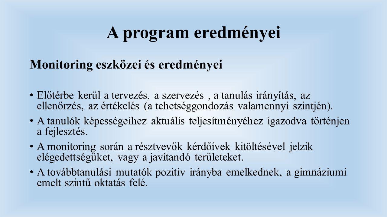A program eredményei Monitoring eszközei és eredményei Előtérbe kerül a tervezés, a szervezés, a tanulás irányítás, az ellenőrzés, az értékelés (a teh