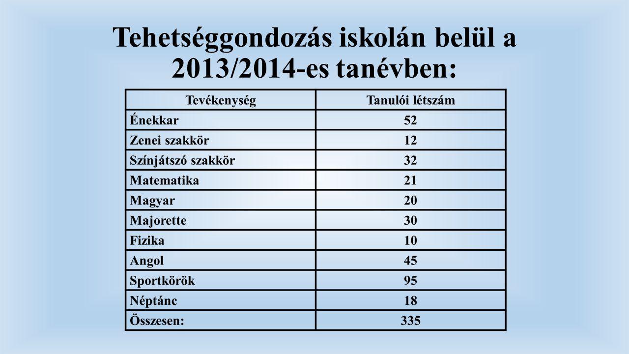Tehetséggondozás iskolán belül a 2013/2014-es tanévben: