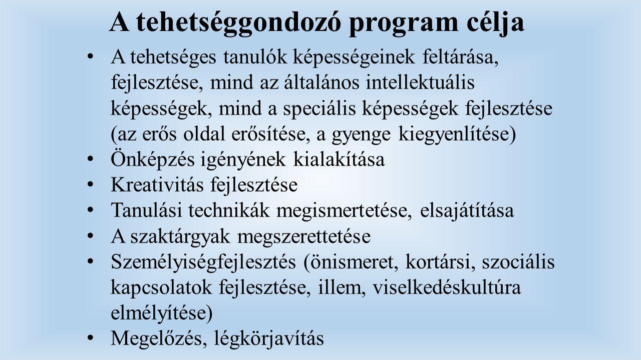 A tehetséggondozó program célja A tehetséges tanulók képességeinek feltárása, fejlesztése, mind az általános intellektuális képességek, mind a speciál