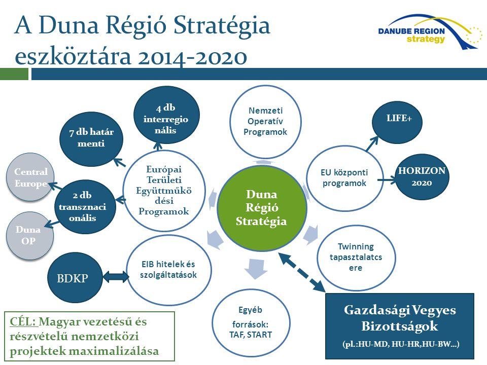 A Duna Régió Stratégia eszköztára 2014-2020 Duna Régió Stratégia Európai Területi Együttműkö dési Programok Nemzeti Operatív Programok Twinning tapasz