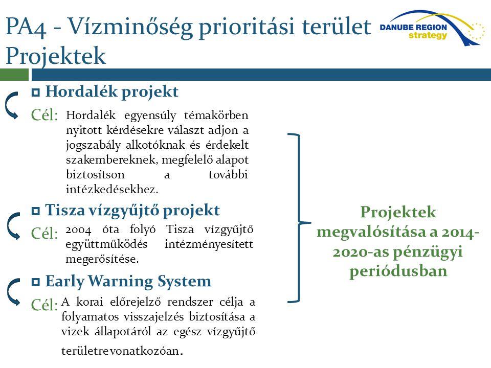 PA4 - Vízminőség prioritási terület Projektek  Hordalék projekt Cél:  Tisza vízgyűjtő projekt Cél:  Early Warning System Cél: Projektek megvalósítá