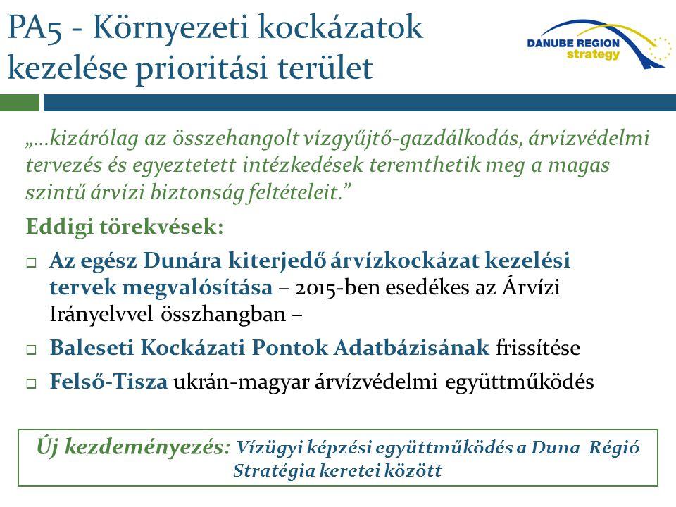 PA5 – Környezeti kockázatok kezelése prioritási terület - Operatív Árvízkezelési és Együttműködési Program a Duna Régióra Előzmény:  2013-as extrém árvizek  Magas szintű politikai támogatás Regionális egyetértés: A katasztrófák elkerülésének megfelelő keretet ad