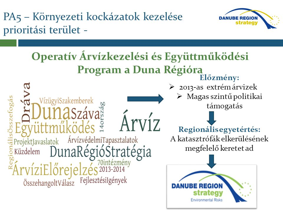 Operatív Árvízkezelési és Együttműködési Program Szakmai szempontok:  Az országok szükségleteinek felmérése a medence-szintű árvízvédelem elősegítéséhez;  Duna régió szintű fejlesztési programok kidolgozása és harmonizációja;  Javaslattétel vízgyűjtő- szintű árvízvédelem fejlesztésére és az együttműködés megteremtésére.
