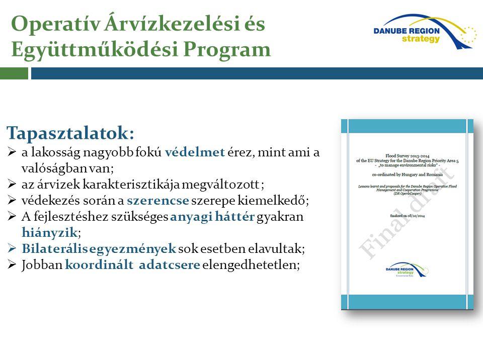 Operatív Árvízkezelési és Együttműködési Program Konkrét projekt igények: Előrejelző rendszerek összehangolása Megvalósítás lépései: I.