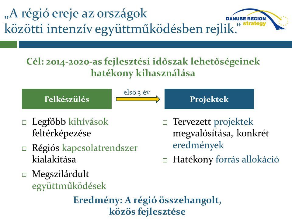 A Duna Régió Stratégia eszköztára 2014-2020 Duna Régió Stratégia Európai Területi Együttműkö dési Programok Nemzeti Operatív Programok Twinning tapasztalatcs ere Egyéb források: TAF, START EIB hitelek és szolgáltatások EU központi programok 7 db határ menti BDKP 2 db transznaci onális 4 db interregio nális LIFE+ HORIZON 2020 Gazdasági Vegyes Bizottságok (pl.:HU-MD, HU-HR,HU-BW…) CÉL: Magyar vezetésű és részvételű nemzetközi projektek maximalizálása Central Europe Duna OP