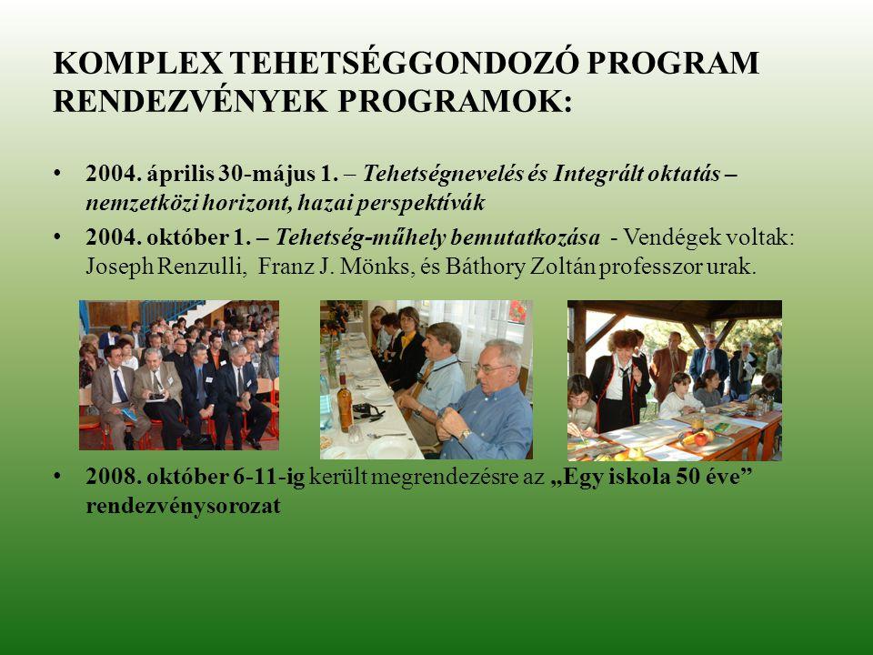 KOMPLEX TEHETSÉGGONDOZÓ PROGRAM RENDEZVÉNYEK PROGRAMOK: 2004. április 30-május 1. – Tehetségnevelés és Integrált oktatás – nemzetközi horizont, hazai