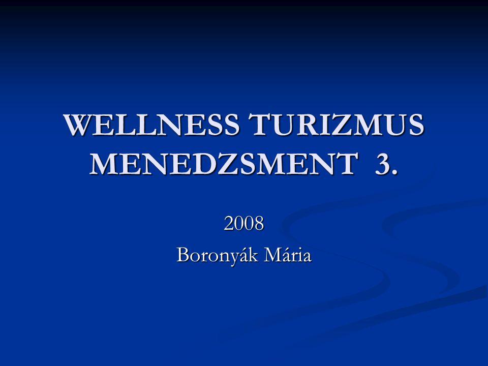 WELLNESS TURIZMUS MENEDZSMENT 3. 2008 Boronyák Mária