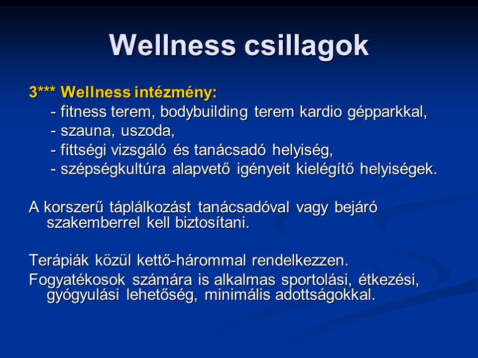 Wellness csillagok 3*** Wellness intézmény: - fitness terem, bodybuilding terem kardio gépparkkal, - fitness terem, bodybuilding terem kardio gépparkkal, - szauna, uszoda, - szauna, uszoda, - fittségi vizsgáló és tanácsadó helyiség, - fittségi vizsgáló és tanácsadó helyiség, - szépségkultúra alapvető igényeit kielégítő helyiségek.