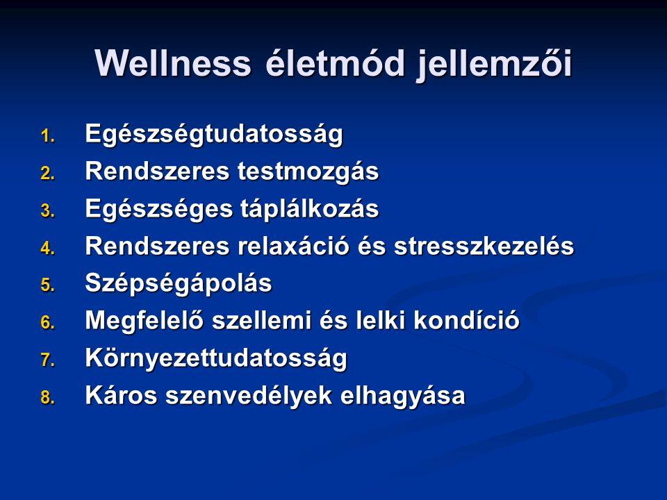 Wellness életmód jellemzői 1. Egészségtudatosság 2.