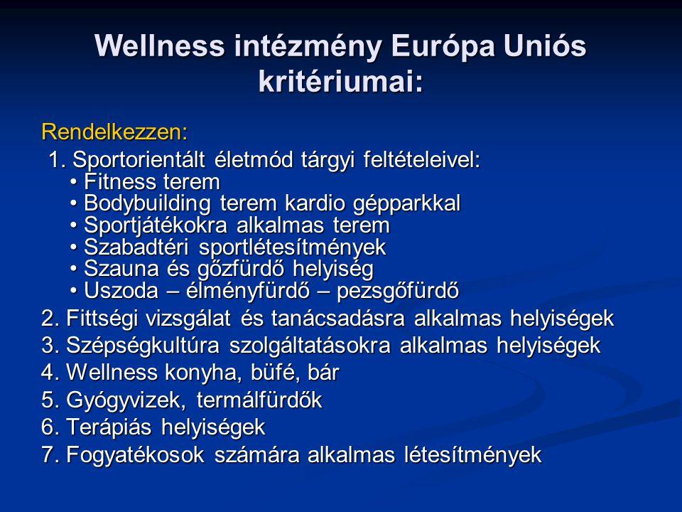 Wellness csillagok 5***** Wellness intézmény: rendelkezzen mind a hét követelménnyel (külön kiemelt hangsúlyt kapnak a gyógyvizek, termálfürdők, szaunák, uszodák) magas színvonalon.