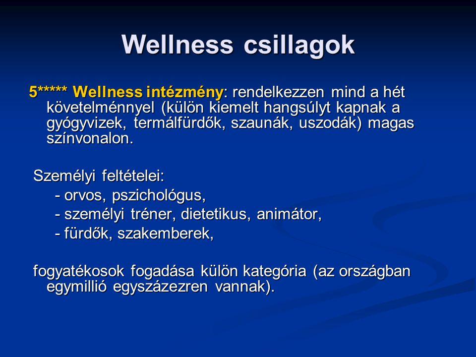 Wellness csillagok 4**** Wellness intézmény az, ahol a gyógyvizek, termálfürdők kivételével a fenti szolgáltatásokra fennáll a lehetőség, a személyi feltételei között van a személyi feltételei között van - felsőfokú végzettségű szakember, - felsőfokú végzettségű szakember, - dietetikusa, - dietetikusa, - terápiákat vezető szakembere, - terápiákat vezető szakembere, - személyi trénere, edzője.