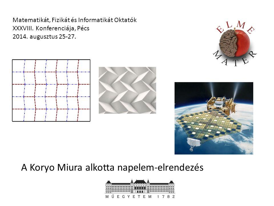 Matematikát, Fizikát és Informatikát Oktatók XXXVIII. Konferenciája, Pécs 2014. augusztus 25-27. A Koryo Miura alkotta napelem-elrendezés