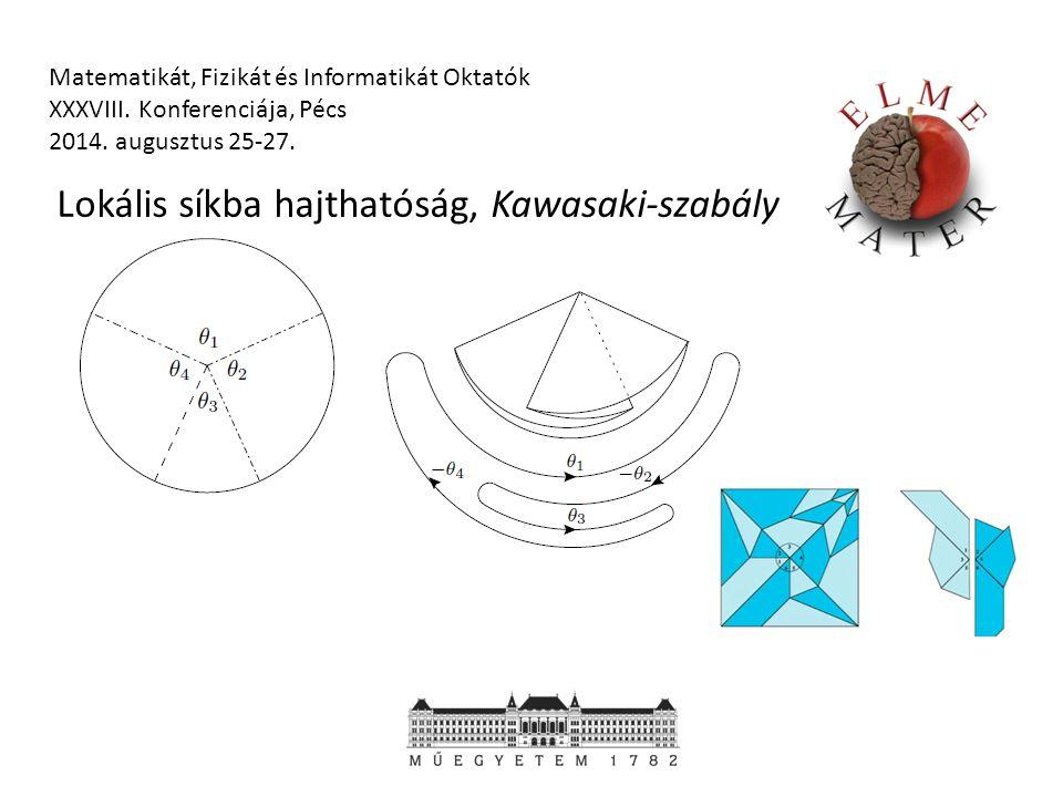 Matematikát, Fizikát és Informatikát Oktatók XXXVIII. Konferenciája, Pécs 2014. augusztus 25-27. Lokális síkba hajthatóság, Kawasaki-szabály