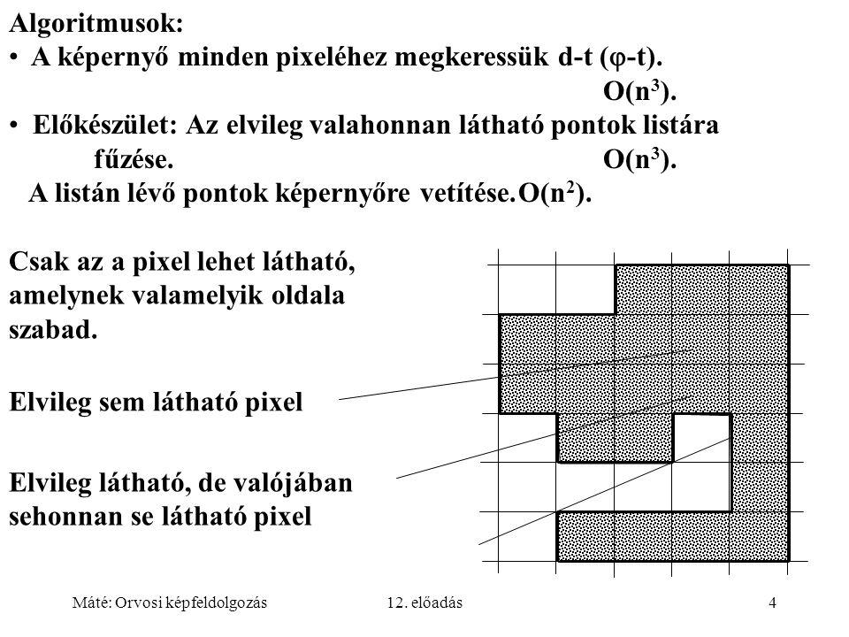 Máté: Orvosi képfeldolgozás12. előadás4 Algoritmusok: A képernyő minden pixeléhez megkeressük d-t (  -t). O(n 3 ). Előkészület: Az elvileg valahonnan