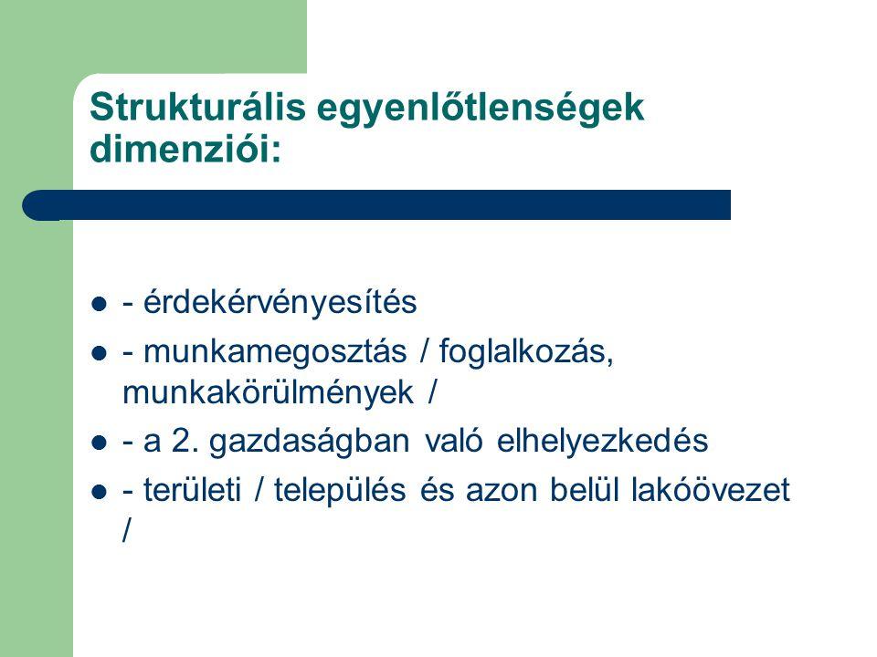 Strukturális egyenlőtlenségek dimenziói: - érdekérvényesítés - munkamegosztás / foglalkozás, munkakörülmények / - a 2. gazdaságban való elhelyezkedés