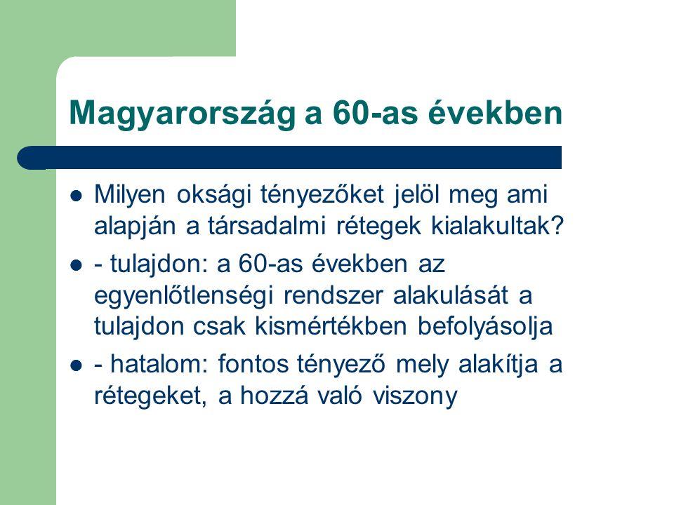 Magyarország a 60-as években Milyen oksági tényezőket jelöl meg ami alapján a társadalmi rétegek kialakultak? - tulajdon: a 60-as években az egyenlőtl