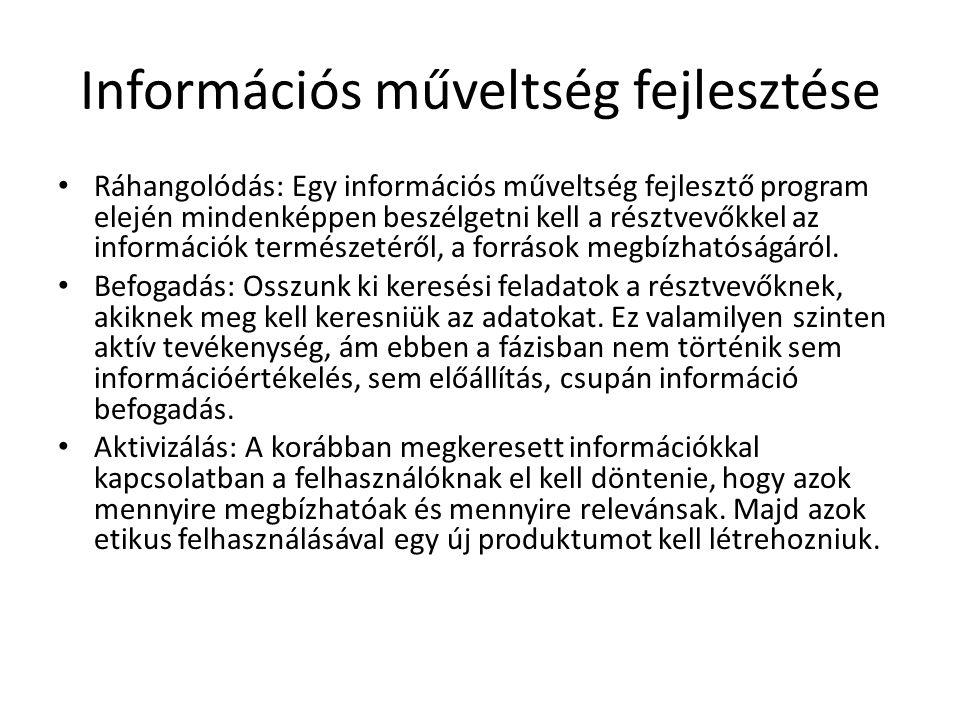 Információs műveltség fejlesztése Ráhangolódás: Egy információs műveltség fejlesztő program elején mindenképpen beszélgetni kell a résztvevőkkel az in