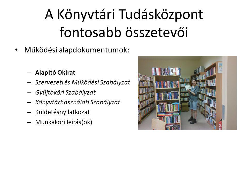 A Könyvtári Tudásközpont fontosabb összetevői Fontos dokumentumok: – Munkaterv – Beszámoló – Közérdekű adatok – Statisztikai adatok – Teljesítménymutatók – A szolgáltatások leírása, útmutatók – Honlap