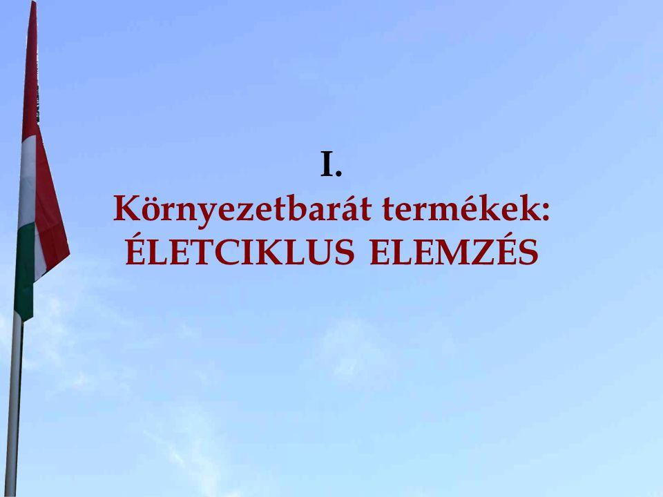 A termék környezeti életciklusa Nyersanyag gyártás és beszerzés Energia Nyers- anyag BemenetKimenet Előállítás Szállítás, csomagolás Használat Hulladék kezelése Hulladék, szennyezés Mainte- nance Újrahasz.