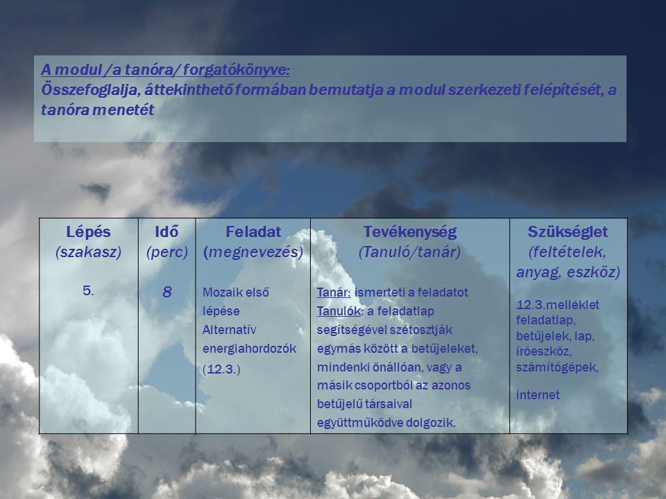 A modul /a tanóra/ forgatókönyve: Összefoglalja, áttekinthető formában bemutatja a modul szerkezeti felépítését, a tanóra menetét Lépés (szakasz) 5. I