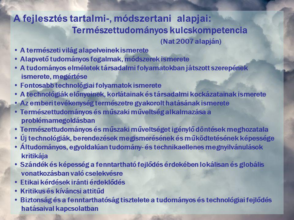 A fejlesztés tartalmi-, módszertani alapjai: Természettudományos kulcskompetencia (Nat 2007 alapján) A természeti világ alapelveinek ismerete Alapvető tudományos fogalmak, módszerek ismerete A tudományos elméletek társadalmi folyamatokban játszott szerepének ismerete, megértése Fontosabb technológiai folyamatok ismerete A technológiák előnyeinek, korlátainak és társadalmi kockázatainak ismerete Az emberi tevékenység természetre gyakorolt hatásának ismerete Természettudományos és műszaki műveltség alkalmazása a problémamegoldásban Természettudományos és műszaki műveltséget igénylő döntések meghozatala Új technológiák, berendezések megismerésének és működtetésének képessége Áltudományos, egyoldalúan tudomány- és technikaellenes megnyilvánulások kritikája Szándék és képesség a fenntartható fejlődés érdekében lokálisan és globális vonatkozásban való cselekvésre Etikai kérdések iránti érdeklődés Kritikus és kíváncsi attitűd Biztonság és a fenntarthatóság tisztelete a tudományos és technológiai fejlődés hatásaival kapcsolatban