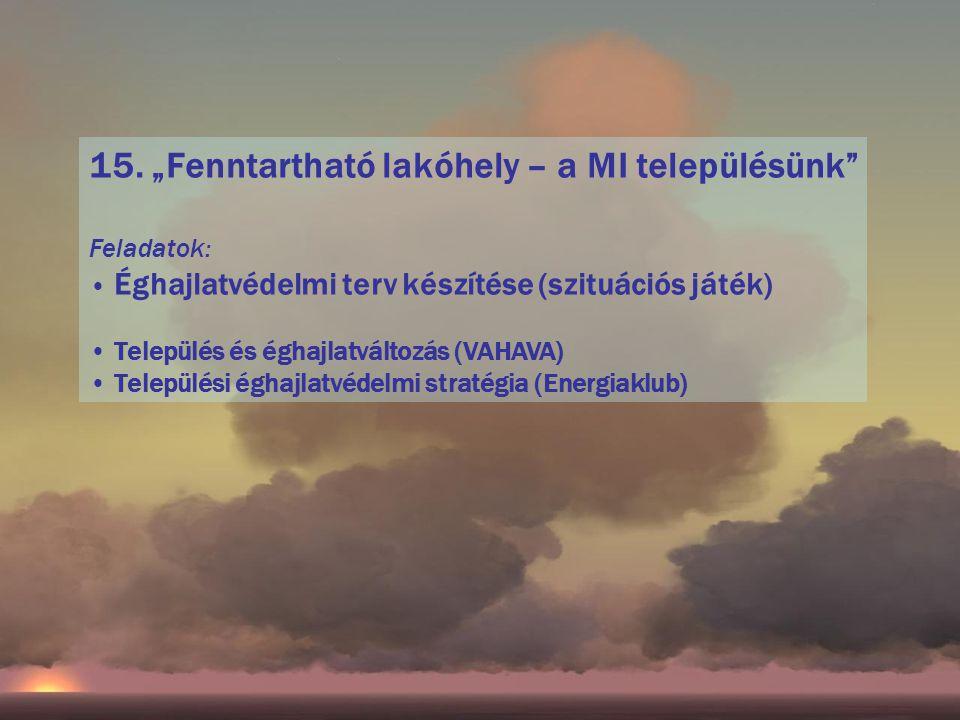"""15. """"Fenntartható lakóhely – a MI településünk"""" Feladatok: Éghajlatvédelmi terv készítése (szituációs játék) Település és éghajlatváltozás (VAHAVA) Te"""