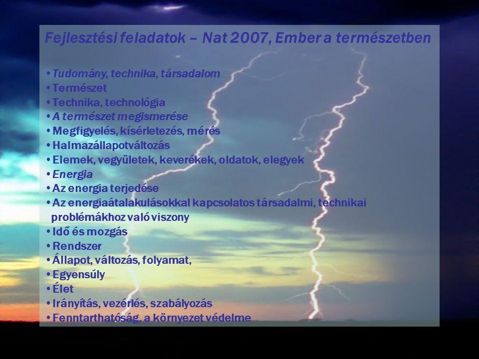 Fejlesztési feladatok – Nat 2007, Ember a természetben Tudomány, technika, társadalom Természet Technika, technológia A természet megismerése Megfigyelés, kísérletezés, mérés Halmazállapotváltozás Elemek, vegyületek, keverékek, oldatok, elegyek Energia Az energia terjedése Az energiaátalakulásokkal kapcsolatos társadalmi, technikai problémákhoz való viszony Idő és mozgás Rendszer Állapot, változás, folyamat, Egyensúly Élet Irányítás, vezérlés, szabályozás Fenntarthatóság, a környezet védelme