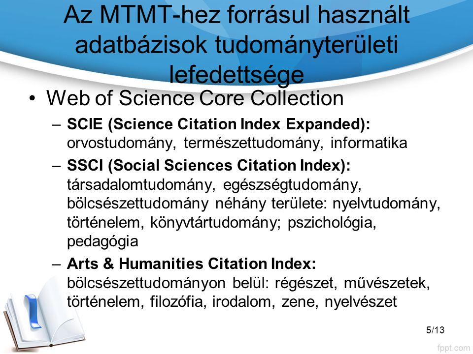 Az MTMT-hez forrásul használt adatbázisok tudományterületi lefedettsége Web of Science Core Collection források aránya: indexelt címek 6/13