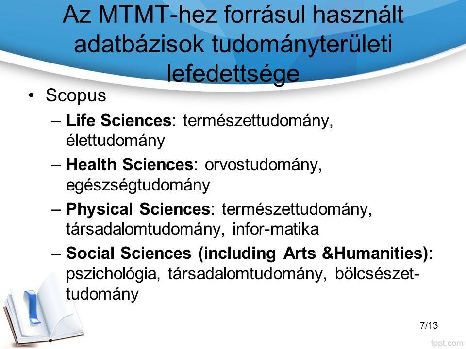 Az MTMT-hez forrásul használt adatbázisok tudományterületi lefedettsége Scopus –Life Sciences: természettudomány, élettudomány –Health Sciences: orvostudomány, egészségtudomány –Physical Sciences: természettudomány, társadalomtudomány, infor-matika –Social Sciences (including Arts &Humanities): pszichológia, társadalomtudomány, bölcsészet- tudomány 7/13
