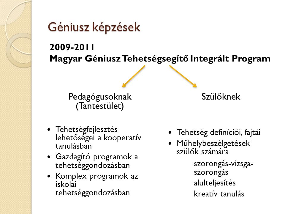 Géniusz képzések Pedagógusoknak (Tantestület) Tehetségfejlesztés lehetőségei a kooperatív tanulásban Gazdagító programok a tehetséggondozásban Komplex