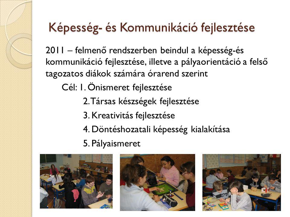 Képesség- és Kommunikáció fejlesztése 2011 – felmenő rendszerben beindul a képesség-és kommunikáció fejlesztése, illetve a pályaorientáció a felső tag