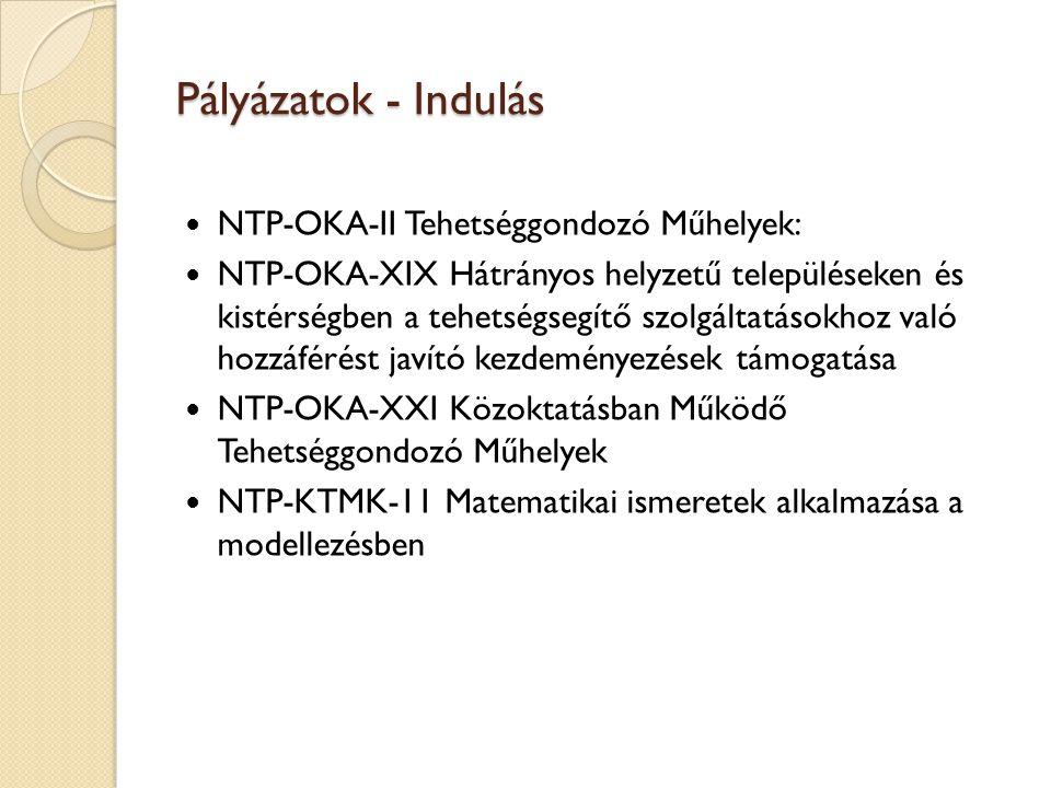 Pályázatok - Indulás NTP-OKA-II Tehetséggondozó Műhelyek: NTP-OKA-XIX Hátrányos helyzetű településeken és kistérségben a tehetségsegítő szolgáltatások