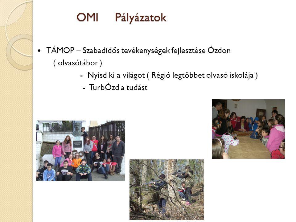 OMI Pályázatok TÁMOP – Szabadidős tevékenységek fejlesztése Ózdon ( olvasótábor ) - Nyisd ki a világot ( Régió legtöbbet olvasó iskolája ) - TurbÓzd a