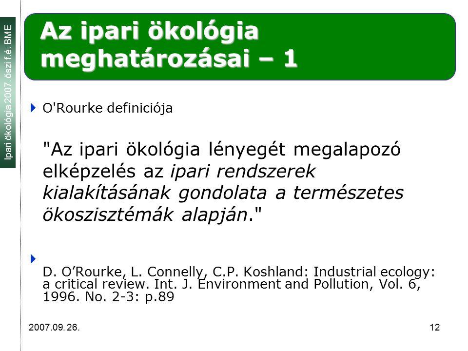 Ipari ökológia 2007. őszi f.é. BME 2007.09. 26. 12 Az ipari ökológia meghatározásai – 1  O'Rourke definiciója