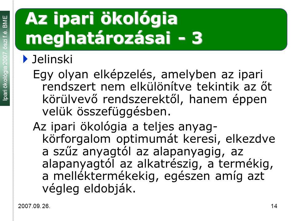 Ipari ökológia 2007. őszi f.é. BME 2007.09. 26. 14 Az ipari ökológia meghatározásai - 3  Jelinski Egy olyan elképzelés, amelyben az ipari rendszert n