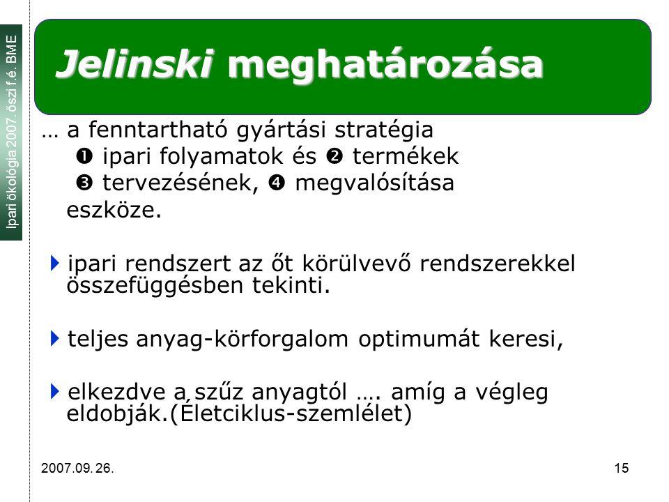 Ipari ökológia 2007. őszi f.é. BME 2007.09. 26. 15 Jelinski meghatározása … a fenntartható gyártási stratégia  ipari folyamatok és  termékek  terve