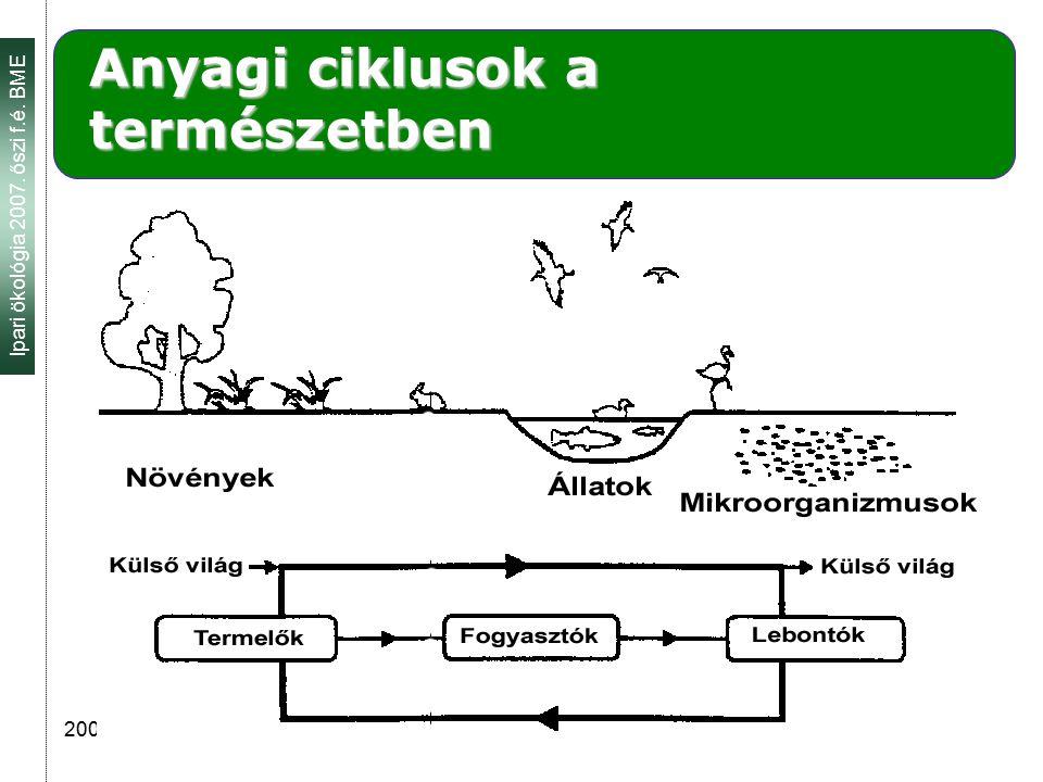 Ipari ökológia 2007. őszi f.é. BME 2007.09. 26. 5 Anyagi ciklusok a természetben