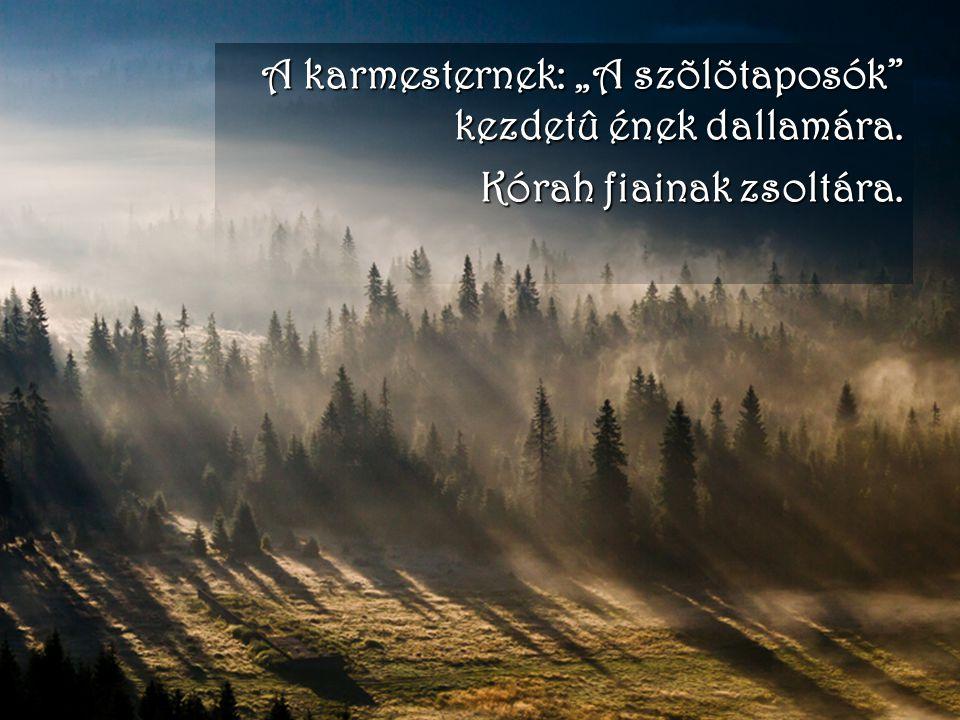 """A karmesternek: """"A szõlõtaposók"""" kezdetû ének dallamára. Kórah fiainak zsoltára."""