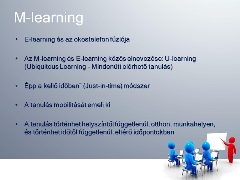 M-learning E-learning és az okostelefon fúziójaE-learning és az okostelefon fúziója Az M-learning és E-learning közös elnevezése: U-learning (Ubiquitous Learning - Mindenütt elérhető tanulás)Az M-learning és E-learning közös elnevezése: U-learning (Ubiquitous Learning - Mindenütt elérhető tanulás) Épp a kellő időben (Just-in-time) módszerÉpp a kellő időben (Just-in-time) módszer A tanulás mobilitását emeli kiA tanulás mobilitását emeli ki A tanulás történhet helyszíntől függetlenül, otthon, munkahelyen, és történhet időtől függetlenül, eltérő időpontokbanA tanulás történhet helyszíntől függetlenül, otthon, munkahelyen, és történhet időtől függetlenül, eltérő időpontokban